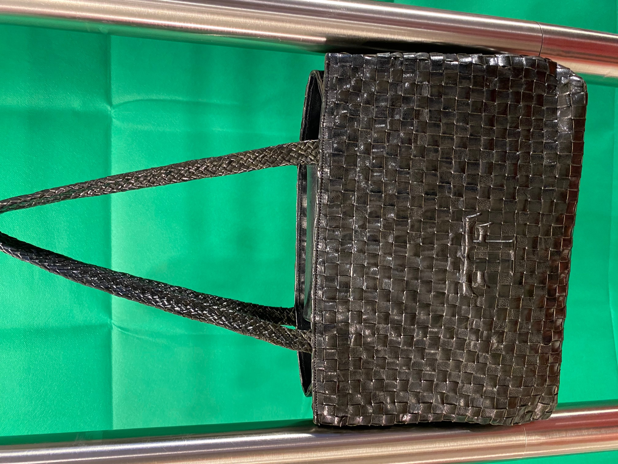 Flechttasche schwarz Leder Farrutx