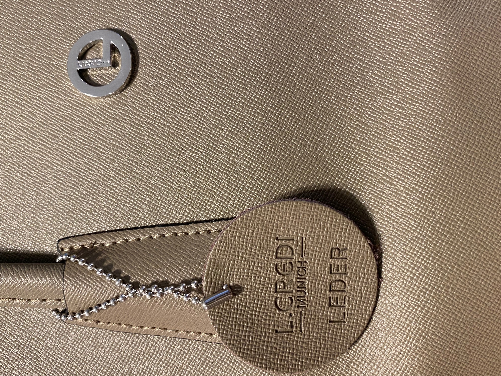 Tasche Leder grau grün L Credi 1
