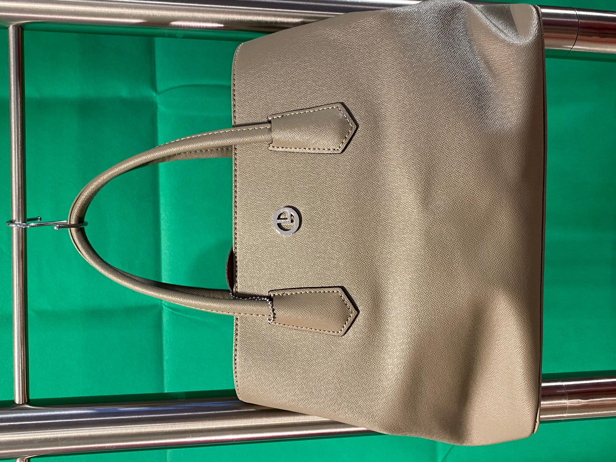 Tasche Leder grau grün L Credi